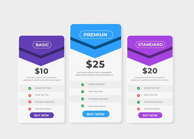 Modern pricing table price list collection
