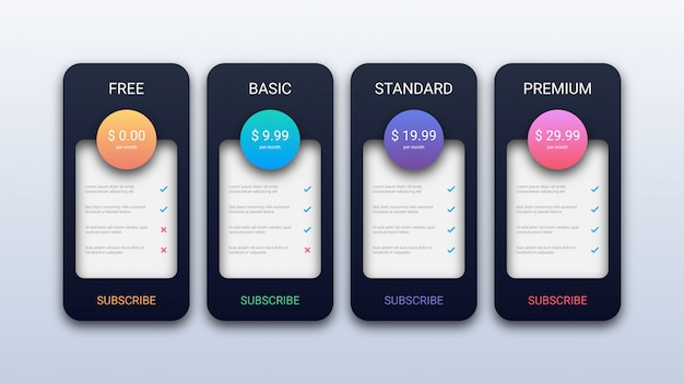 Modern pricing table template for business