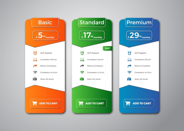 Modern pricing table template design