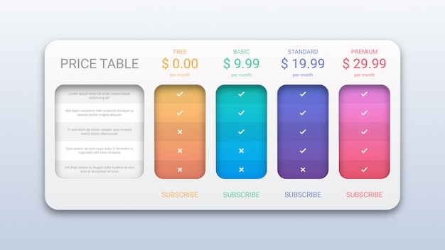 Modern pricing table template for website and application
