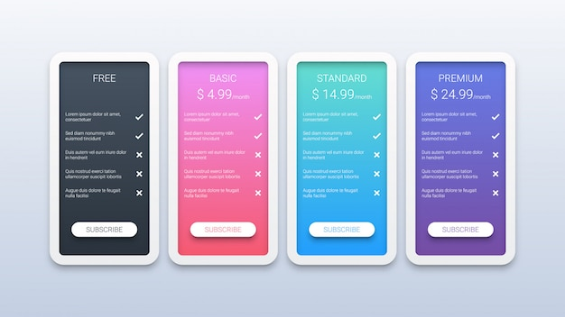Modern pricing table template on white