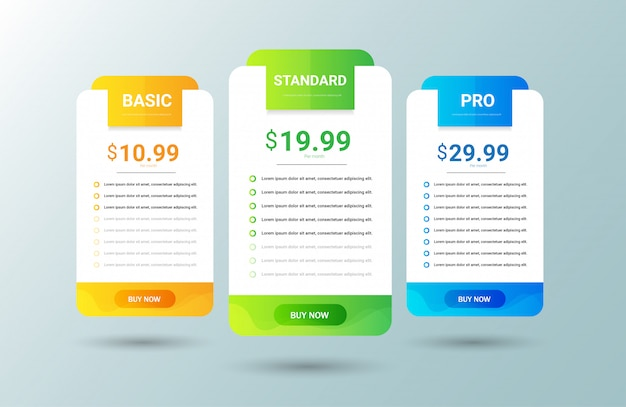 Modern pricing table template