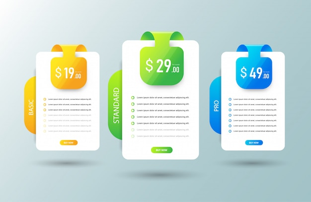 Modern pricing table template.