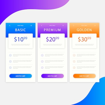 Modern pricing table with tree options