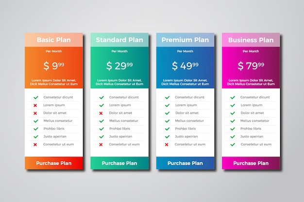 Modern pricing tables template design