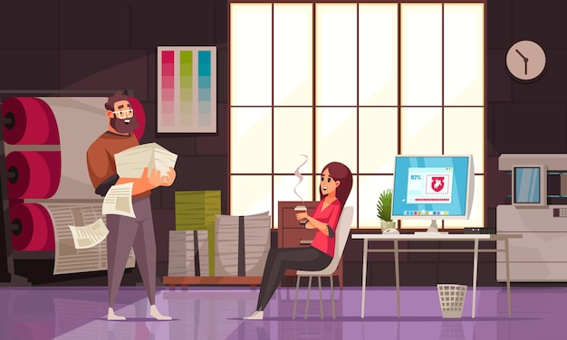 Modern printing house office with two human characters and machines cartoon illustration