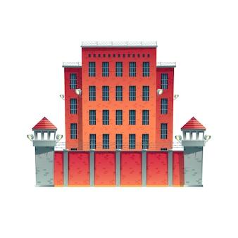Современная тюрьма, здание тюрьмы со стенами из красного кирпича, решетками на окнах