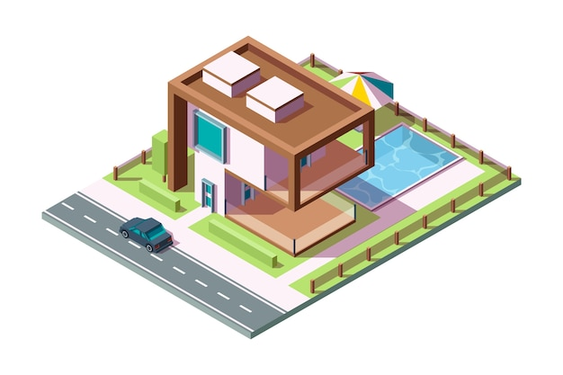 Современный частный дом. роскошное здание жилого экстерьера с травой автомобиль бассейн вектор изометрические дом низкий поли 3d. вилла внешнее здание дома, домашняя архитектура частная иллюстрация