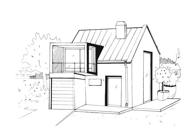 Современный частный жилой дом. черно-белая иллюстрация эскиза.