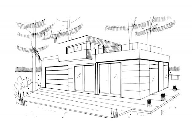 現代の民間住宅。手描き、輪郭、黒と白のスケッチ図。
