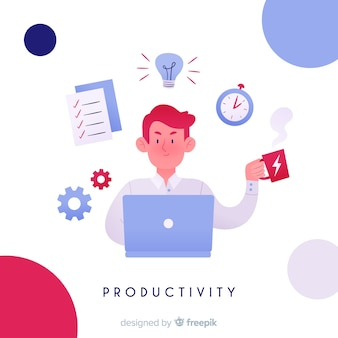 Modern productivity composition with flat design