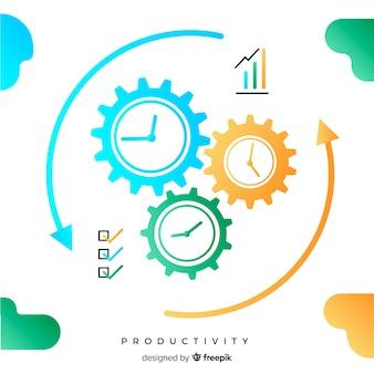 フラットデザインの最新の生産性コンセプト