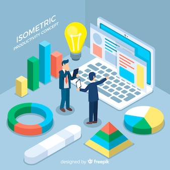 Modern productivity concept with isometric view
