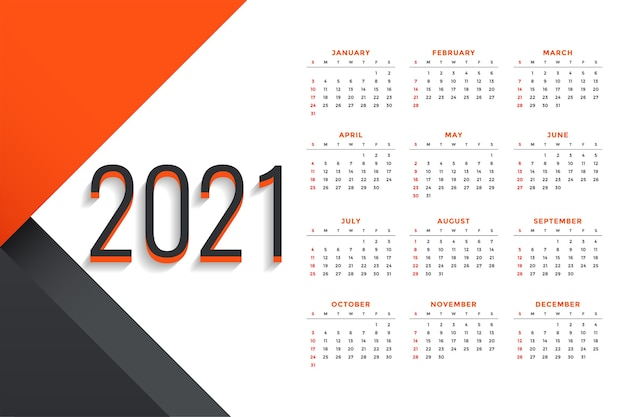 Modern professional 2021 business calendar design template