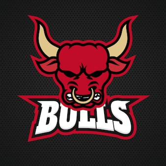 Modern professional bull logo for a sport team. logo on a dark background.