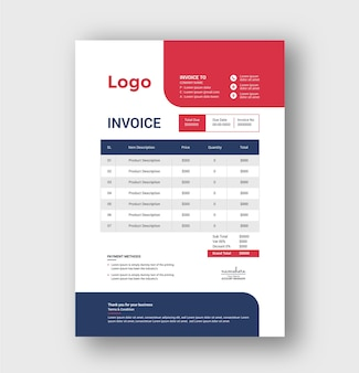Modern professional business invoice template
