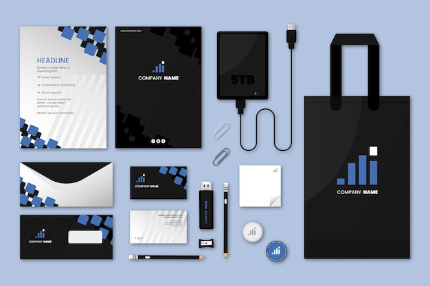 Modern professional business stationery set