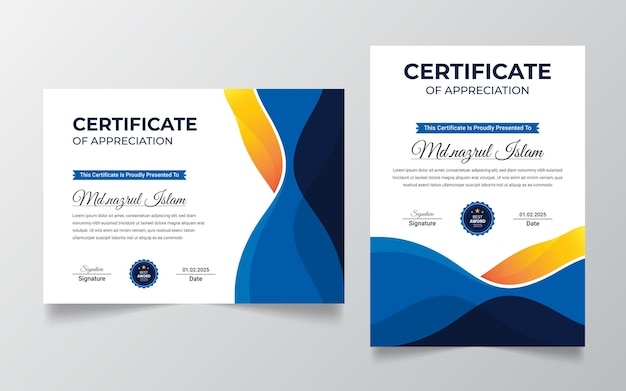 Modern professional certificate template with badge  .