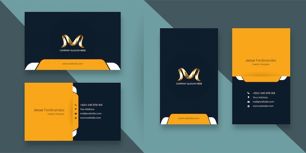 Modern professional deep blue and yellow color business card template