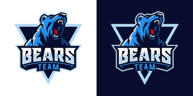 Modern professional grizzly bear logo for a sport team set