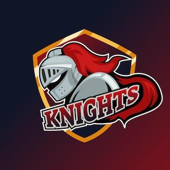 スポーツチームのための現代のプロの騎士のロゴデザインテンプレート