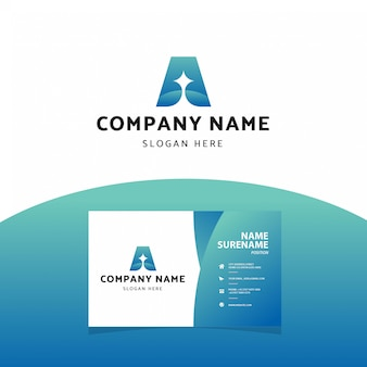 Modern professional letter a logo  business card template