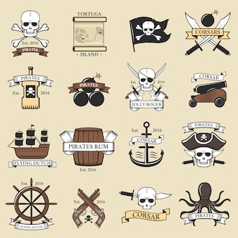 Modern professional pirate logo marine badges nautical sword old skeleton template and skull roger sea icon captain ocean art element