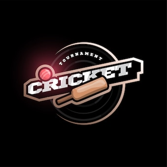 Modern professional typography cricket sport super hero style  emblem and template logo design with ball.