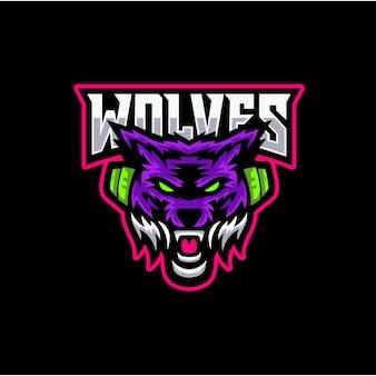 スポーツチームのための現代のプロのオオカミのロゴ