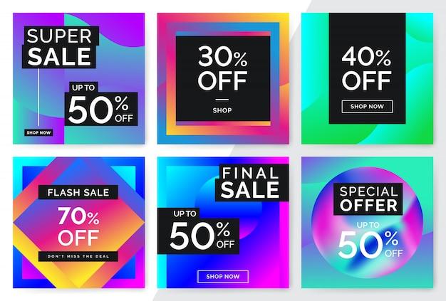 Modern promotion square web banner for social media