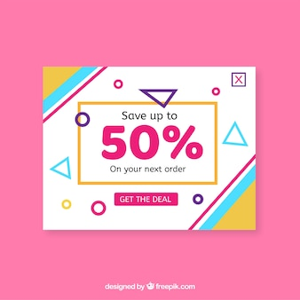 Modern promotional pop up with flat design