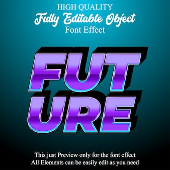 Modern purple 3d text style editable font effect