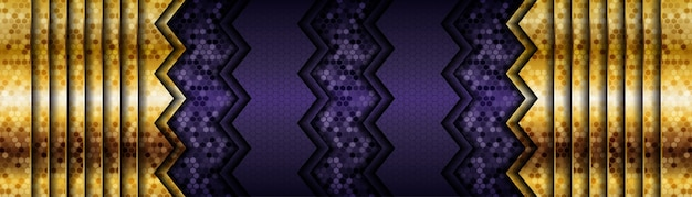 Modern purple background vector overlap layer on dark shadow space with line golden decoration