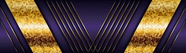 線の金色の装飾と暗い影のスペースにモダンな紫色の背景ベクトルオーバーラップレイヤー