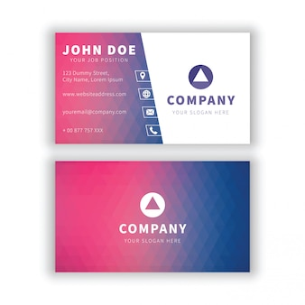Modern purple blue geometrical business card