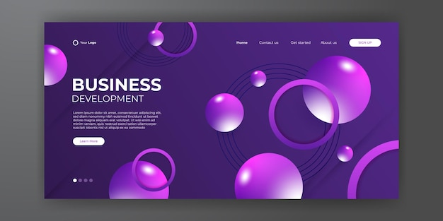 Modern purple business landing page template with abstract modern 3d background. dynamic gradient composition. design for landing pages, covers, flyers, presentations, banners. vector illustration