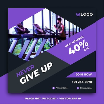 Modern purple fitness gym social media post template