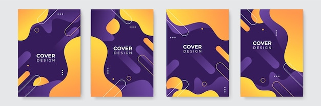 Modern purple orange yellow abstract background vector business cover template. business minimal background with halftone circle frame. gradient background.