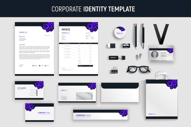 Modern purple professional business stationery set