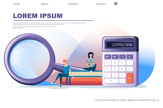 Modern purple small calculator with basic function with magnifying glass flat vector illustration on white background web site page design horizontal banner.