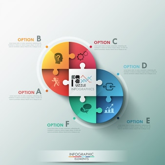 Modern puzzle infographic options banner