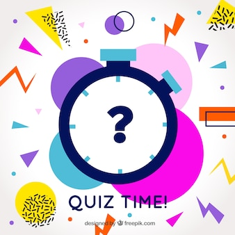 Modern quiz background with colorful shapes