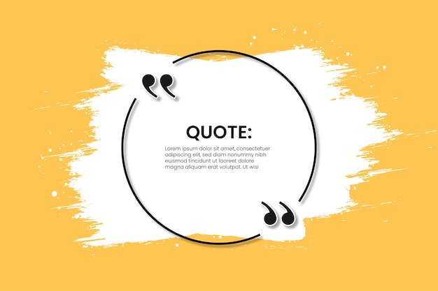 Modern quote frame on yellow with abstract white brush stroke