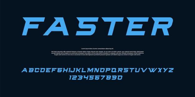 Modern racing alphabet font