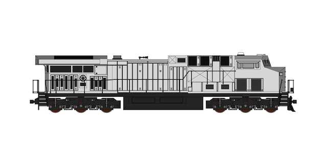 Modern railway locomotive with great power and strength illustration with outline stroke lines
