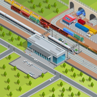 Modern railway train station isometric poster