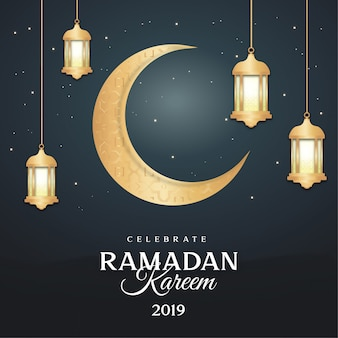 Modern ramadan greeting card with lamps