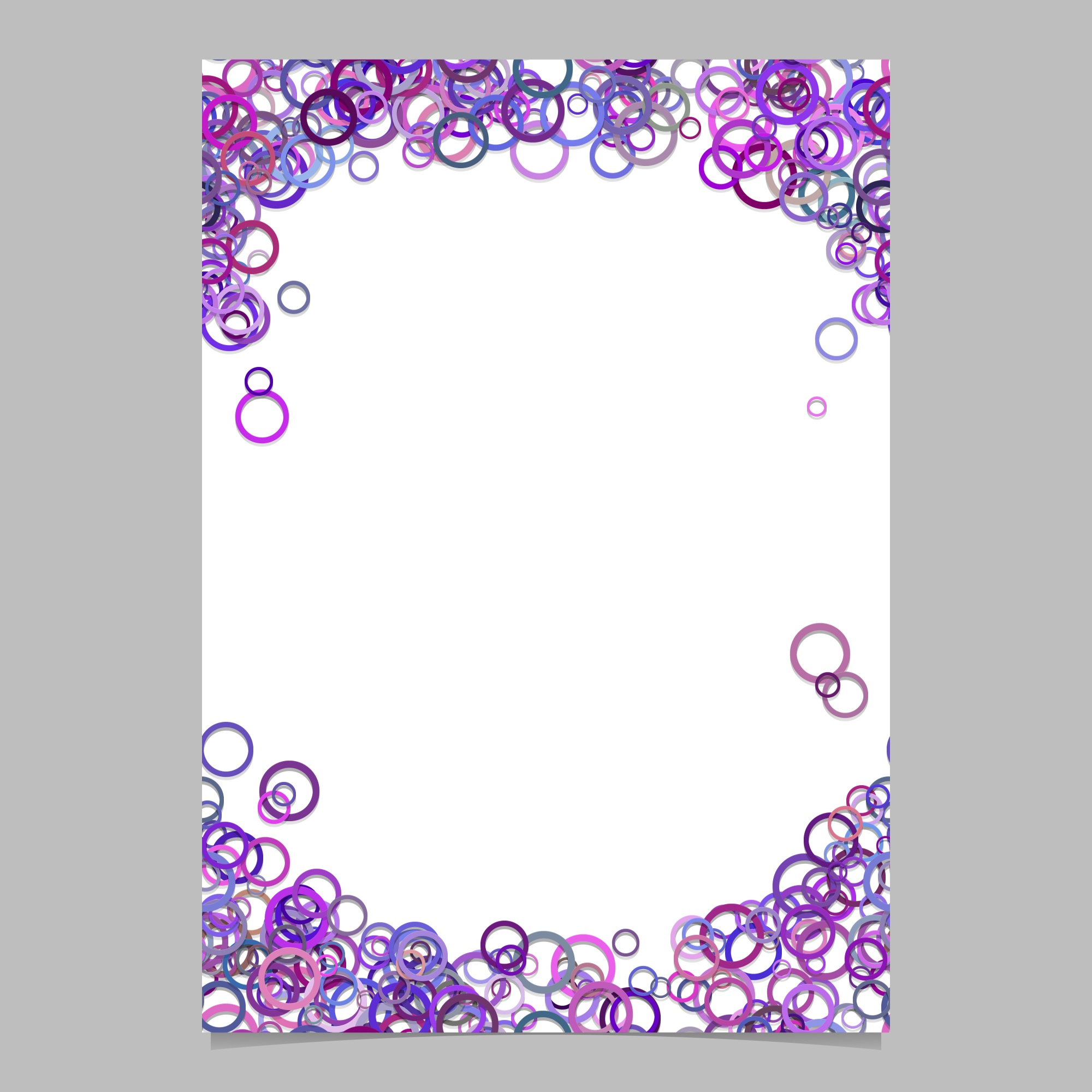 Modern random circle pattern page background template - vector blank brochure frame graphic design with purple rings