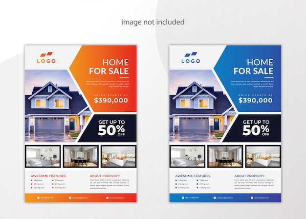 Modern real estate home for sale flyer template