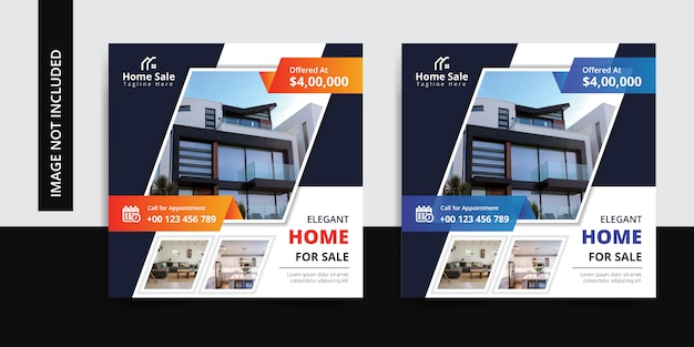 Modern real estate instagram social media post template